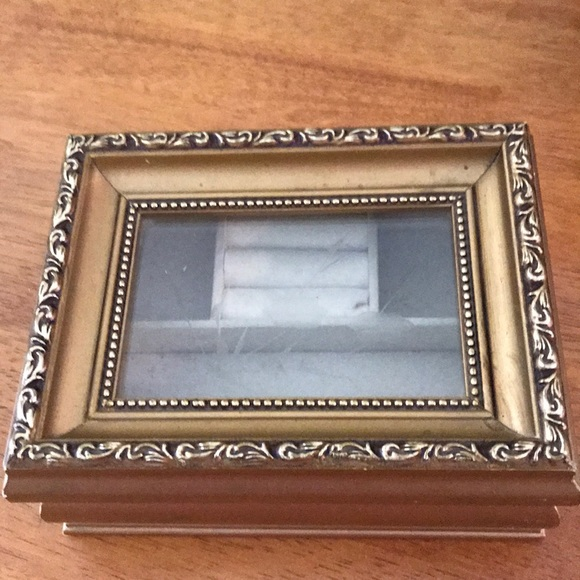 Vintage etched glass jewelry box